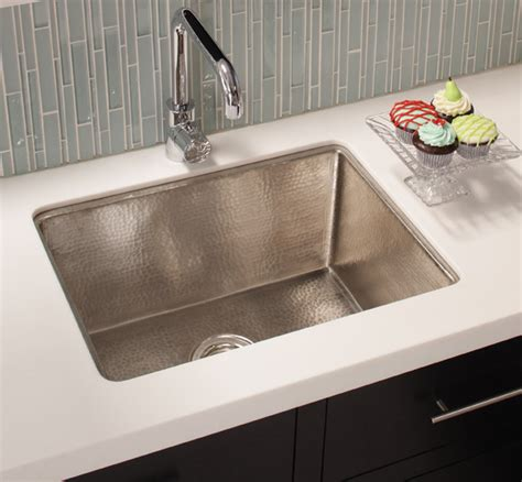 traditional kitchen sinks cocina 24 copper kitchen sink in brushed nickel by