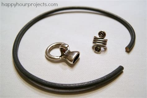how to make leather jewelry five minute leather bracelet happy hour projects