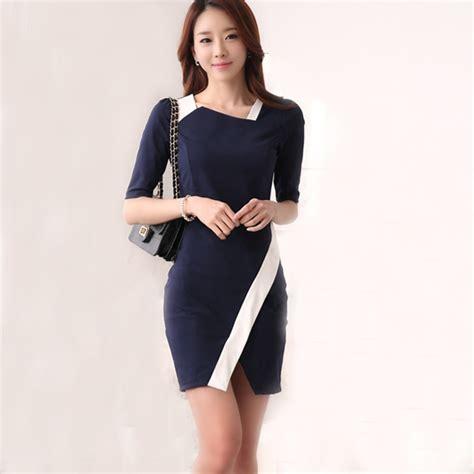 wear office formal office dress patchwork blue dresses