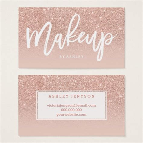 make up business cards makeup artist typography blush gold business