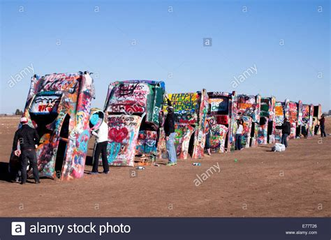The Cadillac Ranch by The Cadillac Ranch Installation On Route 66 Near