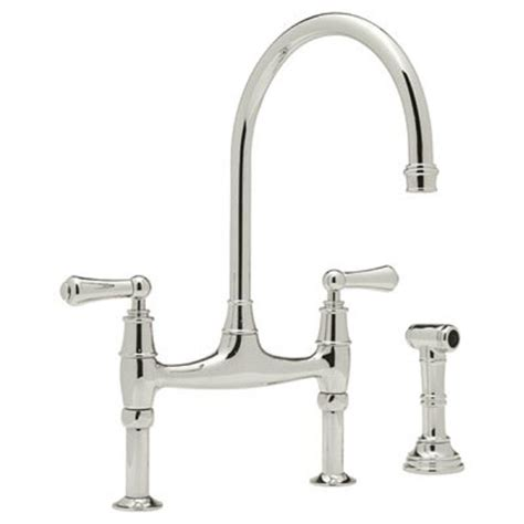 polished nickel kitchen faucets rohl perrin and rowe 2 handle bridge kitchen faucet in polished nickel u 4719l pn 2 the home depot