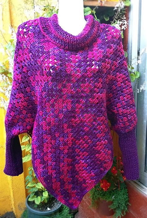 poncho knitting pattern with sleeves poncho con mangas a crochet y palillos knit poncho