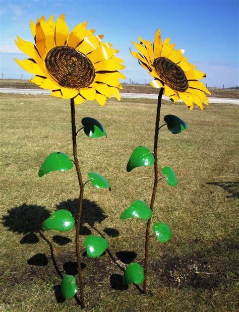 metal yard decor 67 quot recycled metal sunflower stake yard decor