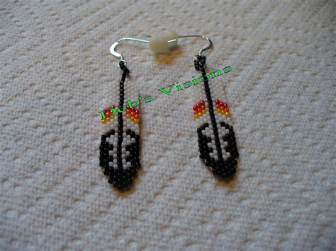 beaded feathers brick stitch beaded feather earrings