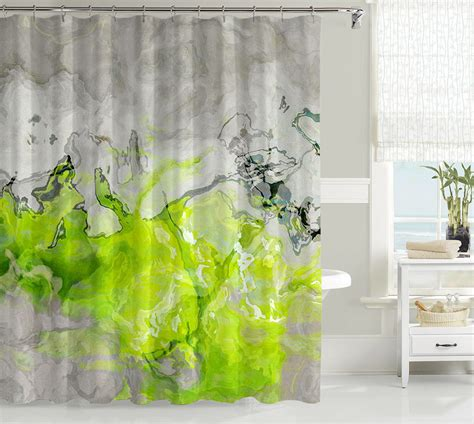 green walls grey curtains contemporary shower curtain abstract bathroom decor lime