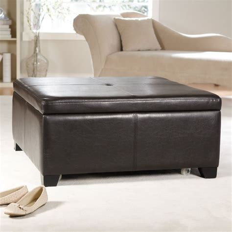 large leather ottoman with storage large square storage ottoman homesfeed