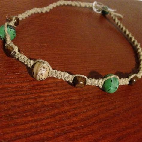 hemp bead necklace teal brown beaded hemp necklace