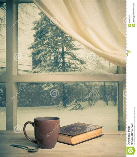window picture book snowy view editorial image image 49472350