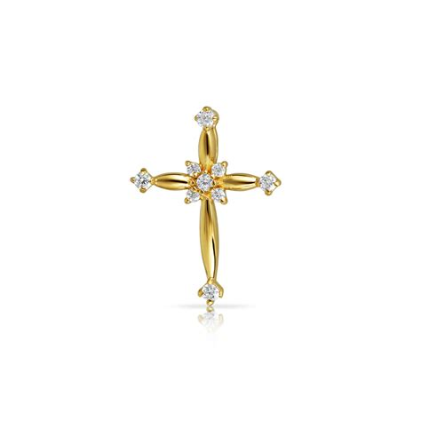 cross pendants for jewelry bling jewelry 14k yellow gold cz childrens cross