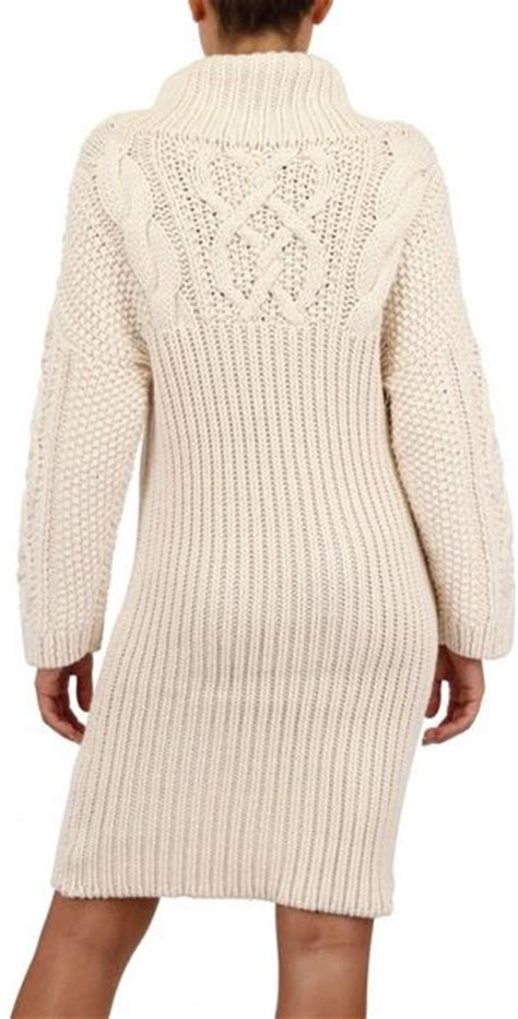 Jean Braganza Cable Wool Knit Sweater Dress In