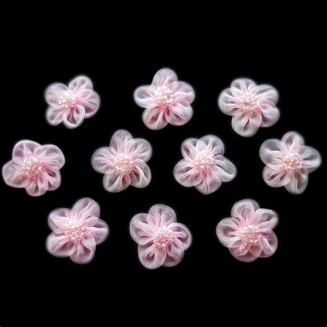 beaded flowers miniature pink sheer beaded flowers