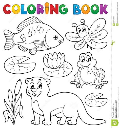 coloring book picture coloring book river fauna image 1 royalty free stock