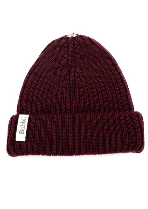 maroon knit beanie bobbl knitted hat maroon