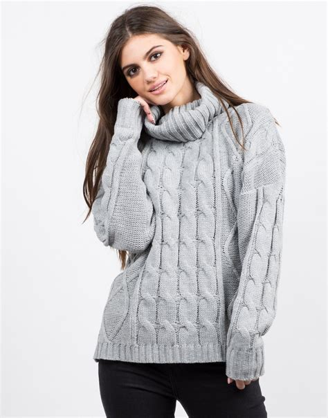 thick knit sweater turtleneck chunky knit sweater cowl neck sweater thick