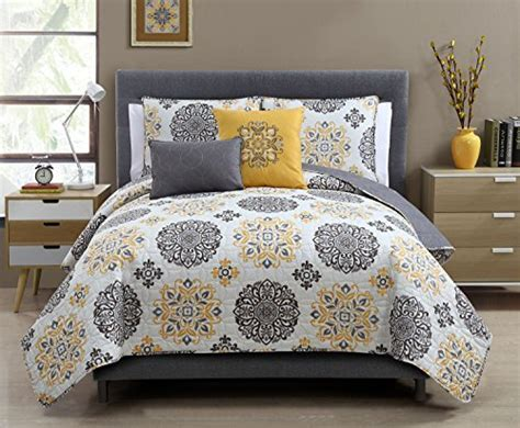yellow and white bedding sets 5 pc yellow grey and white quilt set size