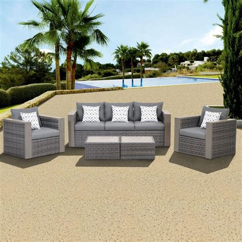 gray patio furniture sets atlantic contemporary lifestyle mustang 5 all weather wicker patio conversation set with