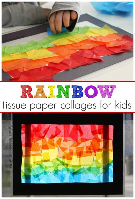 tissue paper stained glass craft for rainbow craft tissue paper suncatcher collages