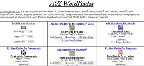 scrabble a2z use a2z wordfinder as scrabble dictionary word generator
