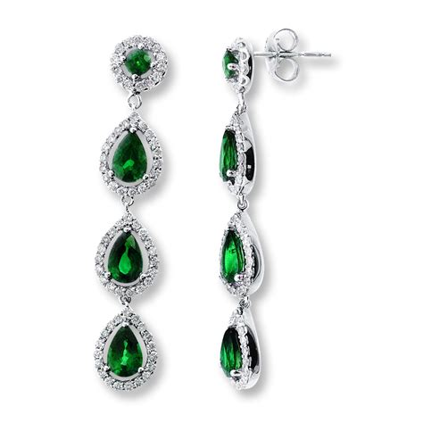 emerald jewellery jared emerald earrings 7 8 ct tw diamonds 14k