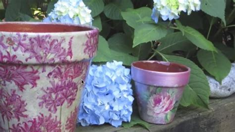 decoupage clay pots ideas how to decoupage and weatherproof clay pots they re