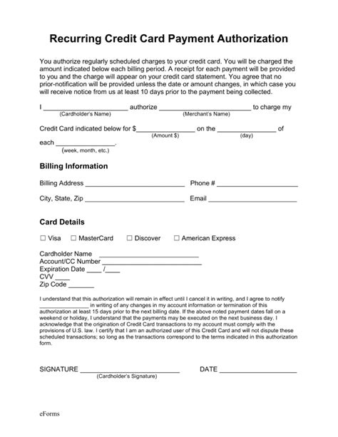 payment on credit card sle credit card authorization form