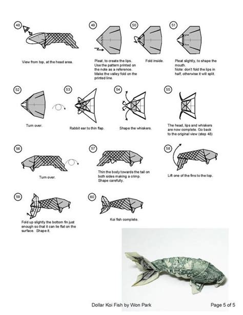 dollar bill origami koi koi fish diagram 5 of 5 money origami dollar bill