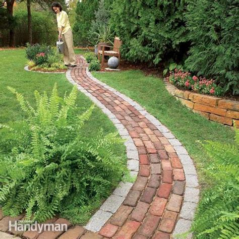 pathway designs build a brick pathway in the garden the family handyman