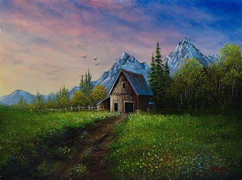bob ross painting barns alpine barn painting by c