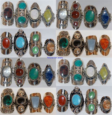 gemstones for jewelry 10 rings gemstone peru silver jewelry bulk lot ebay