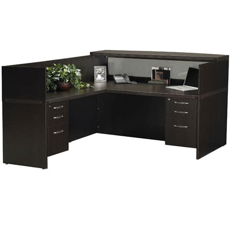 l shaped receptionist desk mayline at36 aberdeen l shaped reception desk with pedestals