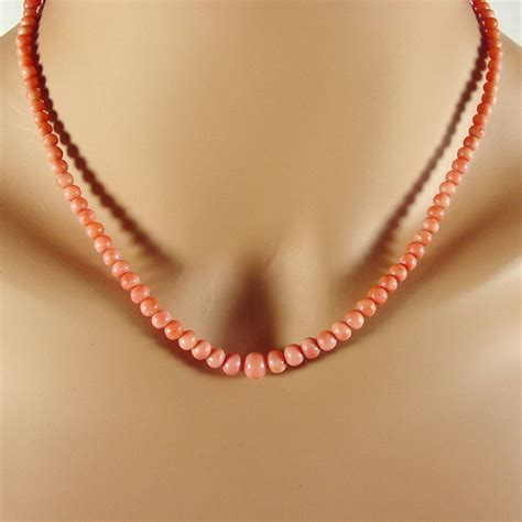 Pink Salmon Coral Bead Necklace 18 Quot From 4sot On