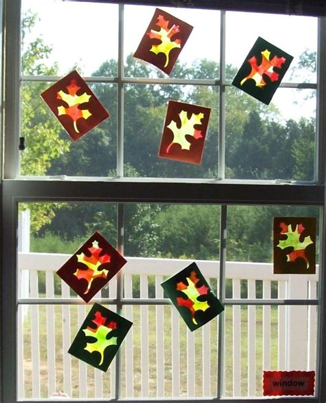 tissue paper leaf craft crafts for preschoolers fall leaves window craft made