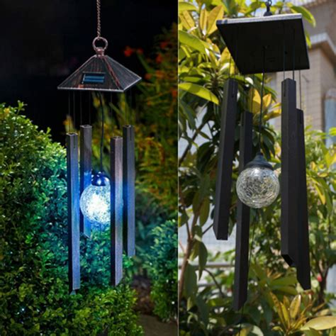 solar decor solar colour changing led light l wind chimes outdoor