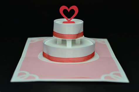 how to make pop up cake card two ribbon wedding cake pop up card creative pop up cards