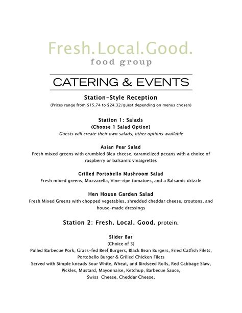 catering and events fresh local good food group
