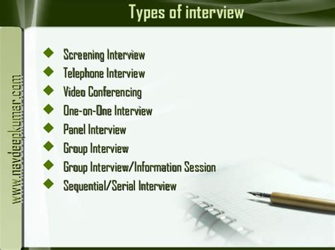 types of types of interviews