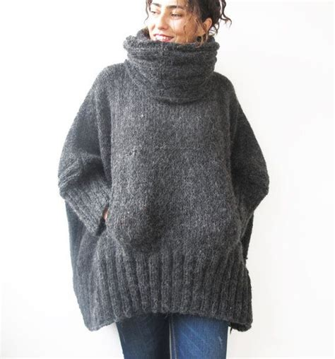 knitted ponchos gray knitted poncho with accordion and