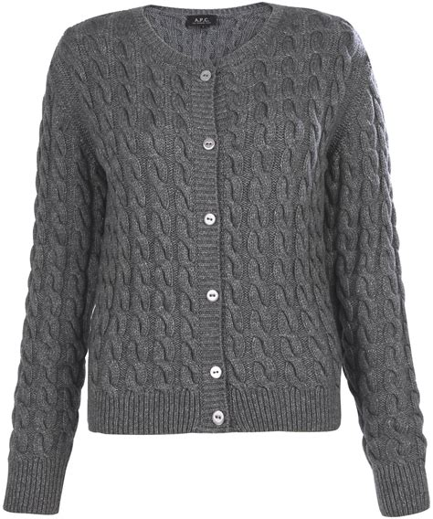 grey cable knit cardigan a p c grey cable knit cardigan in gray grey lyst