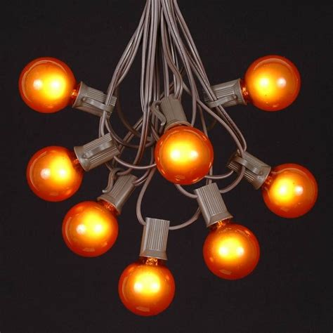string lights with bulbs orange g40 globe outdoor string light set on brown