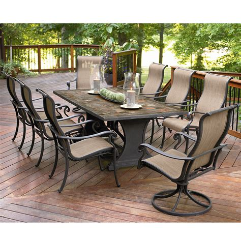 outdoor patio furniture set agio international panorama 9 pc patio dining set shop