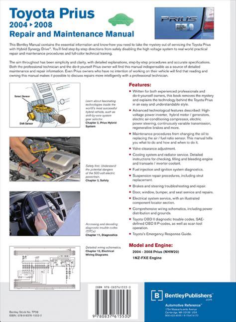 car repair manuals online pdf 2006 toyota prius engine control back cover toyota prius repair and maintenance manual 2004 2008 bentley publishers repair
