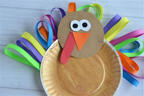 paper plate thanksgiving crafts paper plate ribbon turkey kid craft
