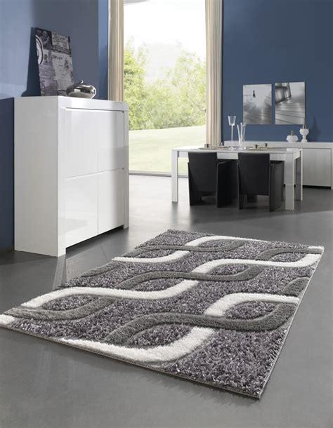 tapis moderne pour salon shaggy gris kolyos