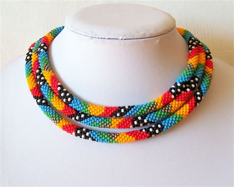 seed bead rope necklace beaded crochet rope necklace beadwork seed