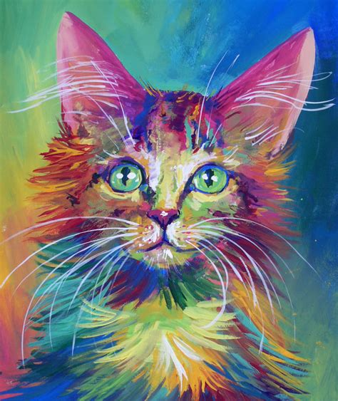 rainbow cat painting colorful cat 4 by san t on deviantart