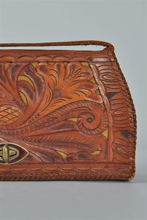 tooled leather goods tooled cutwork leather purse bustown modern