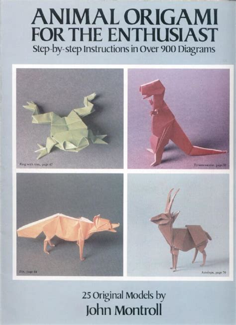 origami animals book montroll animal origami for enthusiast by sv