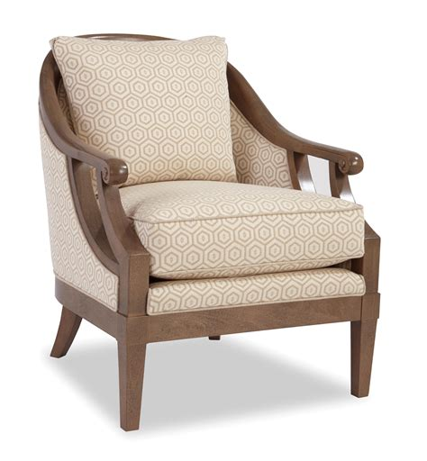 Wooden Accent Chairs traditional wood framed accent chair with scroll arms by