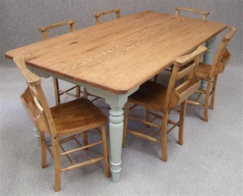 wooden kitchen tables oak farmhouse kitchen table six vintage chapel chairs